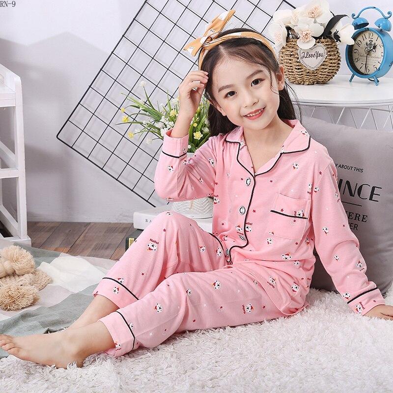 Image 3 - Fashion Cotton Children Pajamas Suit 2019 Spring Girls Pajamas Cartoon Full Sleeve Pants Suit Boys Cardigan Kids Loungewear Set-in Pajama Sets from Mother & Kids