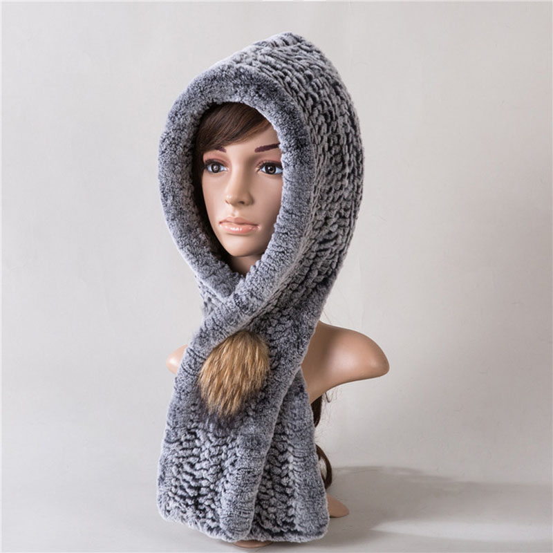 Knitted Real Rex Rabbit Fur Scarf With Cap Women Winter Warm Fashion Knit Fur Hat Russia Winter Rex Rabbit Hats Ladies Caps