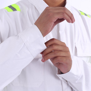 Image 4 - One piece Long Sleeve Safety Coveralls 100% Cotton Reflective Work Clothes Anti Static Clothes For Auto Repair Grid Coal Miner
