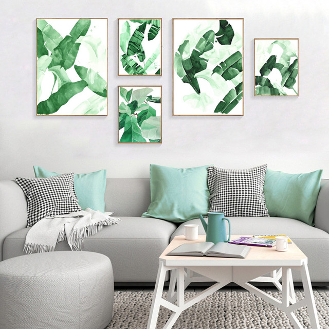 Green Leaf Pflanzen Modulare Bilder Wand Druck Bilder Fur Wohnzimmer