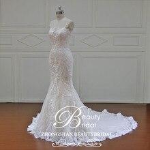 Güzellik Gelin 100% Gerçek Fotoğraflar Elbise Mermaid Lüks Gelin Elbiseler Kraliyet Tren Kapalı Omuz düğün elbisesi dantel 2019 XFB7002