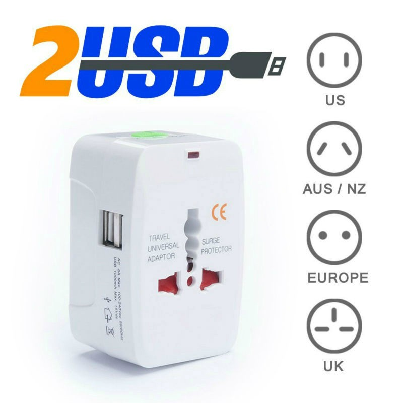Option 2 USB Charging Port All In One Universal Worldwide Travel Wall Charger AC Power AU UK US EU Plug Adapter Adaptor