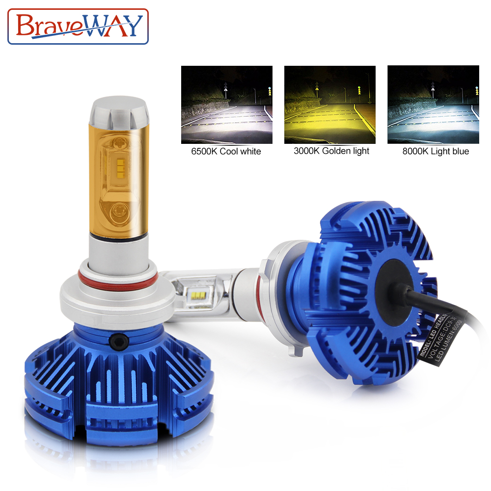 купить BraveWay 3000K/6500K/8000K ZES Chip Led Headlight H7 LED H4 H11 9005 HB3 9006 HB4 LED Auto Lamp Hi-Lo Beam DC12V 24V Car Bulbs по цене 2230.32 рублей
