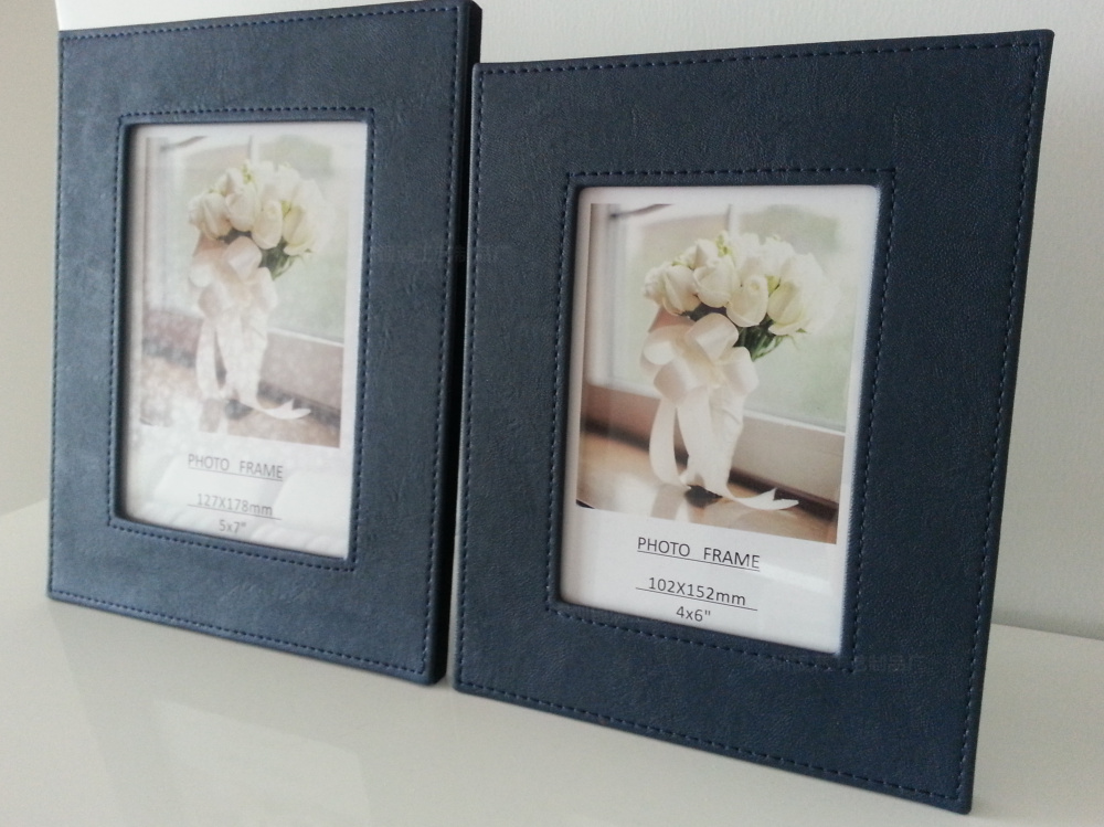 Navy blue flat leather picture frames 5 inch 6 7 8 10 12 A4 paper ...