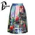 Multicolor mujeres de cintura alta de aceite 3d jardín de impresión plisada falda de midi skater vintage balón vestido de estilo elegante