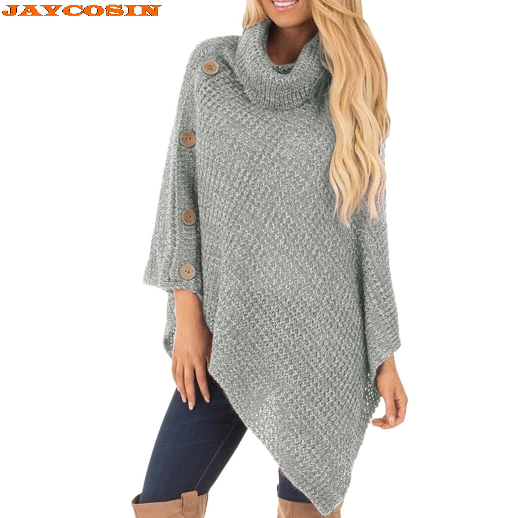 JAYCOSIN Hot High Quality Women's Casual Knit Turtle Neck Poncho With Button Irregular Hem Pullover New Sweater Women 2019