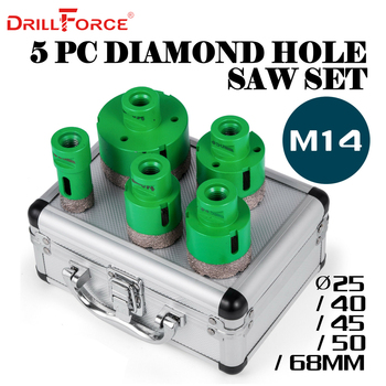 Drillforce 5PCS Diamond Hole Saws Set 25/40/45/50/68mm M14 Durable Carborundum Ceramics M14 Thread Drill Core