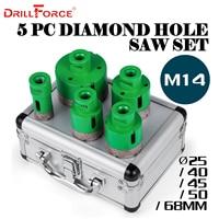 Drillforce 5PCS Diamond Hole Saws Set 25/40/45/50/68mm M14 Durable Carborundum Ceramics M14 Thread Drill Core