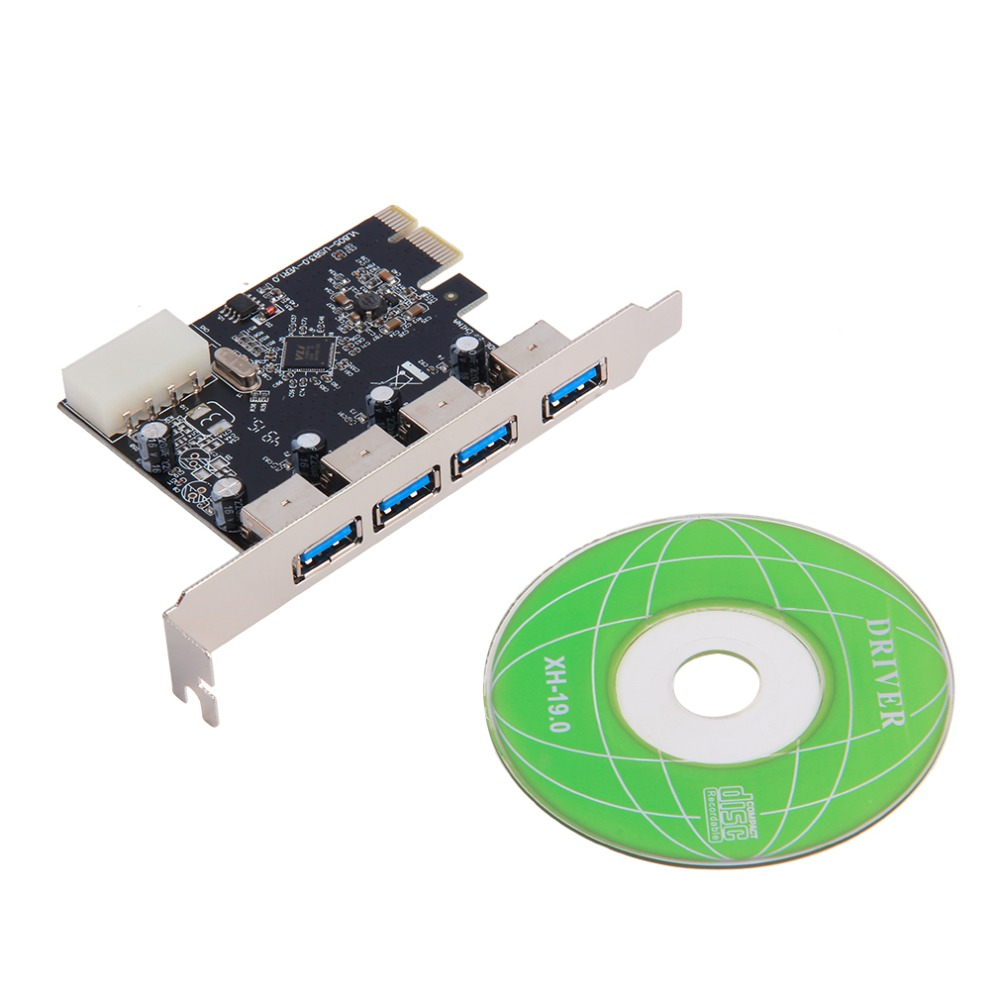 IN stock!4 Port 5Gbps Superspeed USB 3.0 PCI-E PCI Express Card Adapter for XP Vista Win7