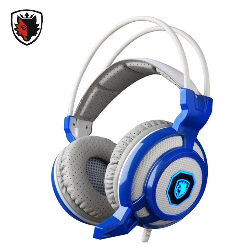 ФОТО Sades SA905 Vibration Gaming Headphones Wired USB Gamer Headsets with Microphone LED Light Computer PC Video Game