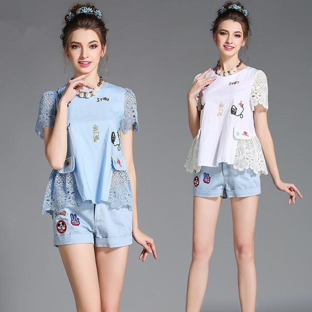 ESTILO Large European Fashion Women's Casual Sets New Design Lace Hollow Out Patchwork T-Shirts and Denim Shorts Two Piece Sets