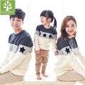 2017 nova família roupas combinando mãe/pai/stripe da longo-luva de algodão t camisas do bebê primavera/outono estrela de impressão da família clothing conjuntos