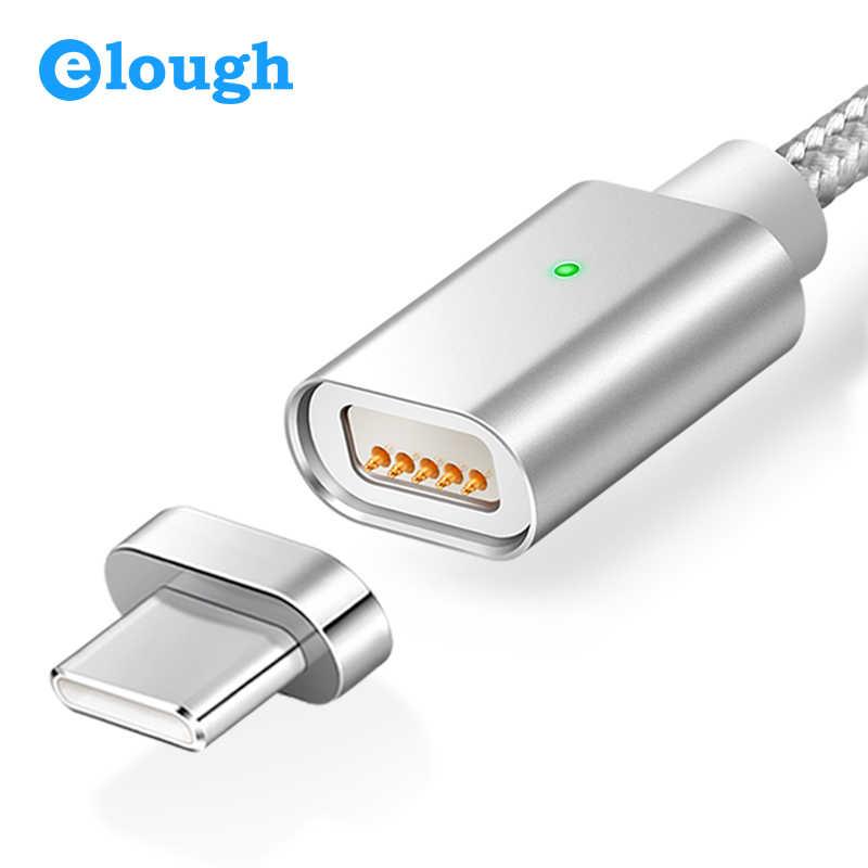 Elough E04 USB نوع C كابل مغناطيسي لسامسونج غالاكسي s8 نوت 8 زائد شاحن سريع للهاتف المحمول المغناطيس نوع c كابل شحن
