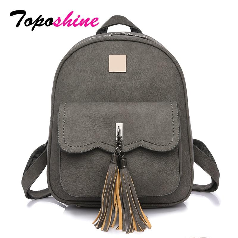 Toposhine 2018 Tassel Women Backpacks Fashion PU Leather Lady Backpacks High Quality Fashion Girls Backpack Cute School Bag 1588 цены