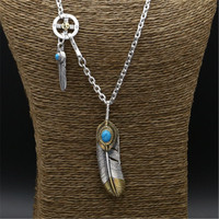 47.2g 100% Real 925 Sterling Silver Long Pendant Necklace Men Women Blue Natural Stone Vintage Indian Style Men Necklace Silver