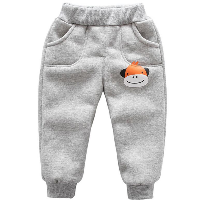Winter baby warm cotton pants for boys and girls sport pants kids child plus velvet thickening pants children trousers (1)