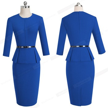 New Arrival Autumn Formal Peplum Office Lady Dress Elegant Sheath Bodycon Work Business Pencil Dress 2