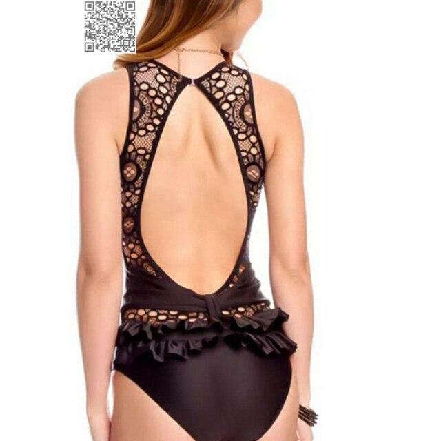765d6770265c7 Solid Black Ruffle One Piece Swimsuit Women Push Up Bathing Suit Open Back  Sexy Swim Suit