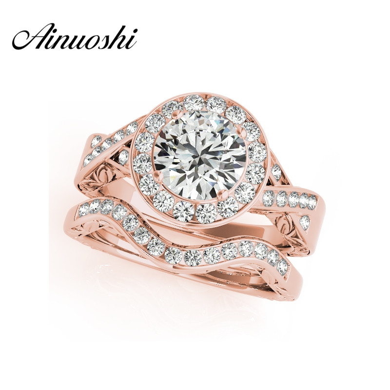 AINUOSHI Luxury 925 Sterling Silver Rose Gold Color Ring Sets 1.5 Carat Sona Round Cut Women Wedding Engagement Bridal Ring Sets цена 2017