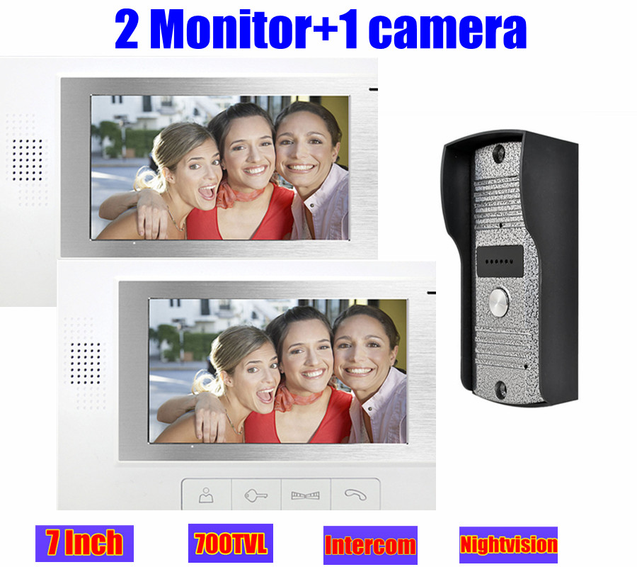 7 TFT wired home Video Door Phone Intercom 2 monitor system doorphone Doorbell door 700TVL ir night vision camera waterproof 7 inch color tft lcd wired video door phone home doorbell intercom camera system with 1 camera 1 monitor support night vision