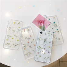 Transparent dry flower phone case For iphone X XR XS MAX Epoxy TPU soft 6 6s 7 8plus luxury back cover