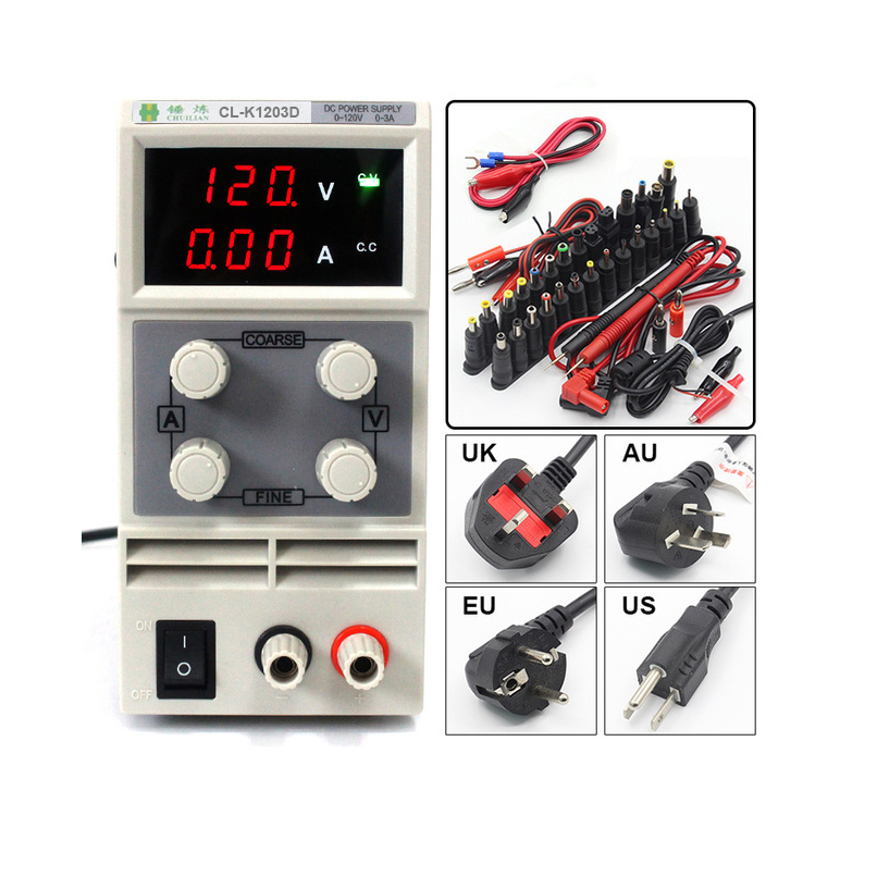 CLK1203D Adjustable High precision double LED display switch DC Power Supply protection function 120V3A 110V 220V