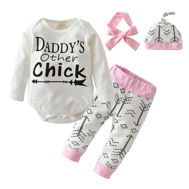 7365cf6053421 Newborn Baby Girl Clothing Set 4 Pcs Cotton New Design Long sleeve Letter  Romper+Pants+Hat+Headband Cute Baby Clothes Suit