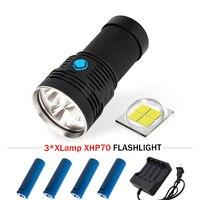 XHP70 camping charge long range flashlight 3 CREE XHP70 lantern spotlight torch flashlight 4*18650 fishing linterna led zaklamp