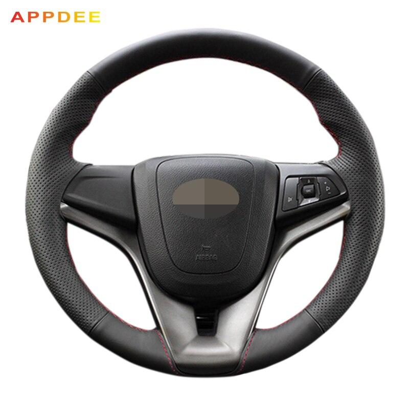 APPDEE Cousu Main En Cuir Noir Volant pour Chevrolet Cruze 2009-2014 Chevrolet Aveo 2011-2014 holden Cruze2010