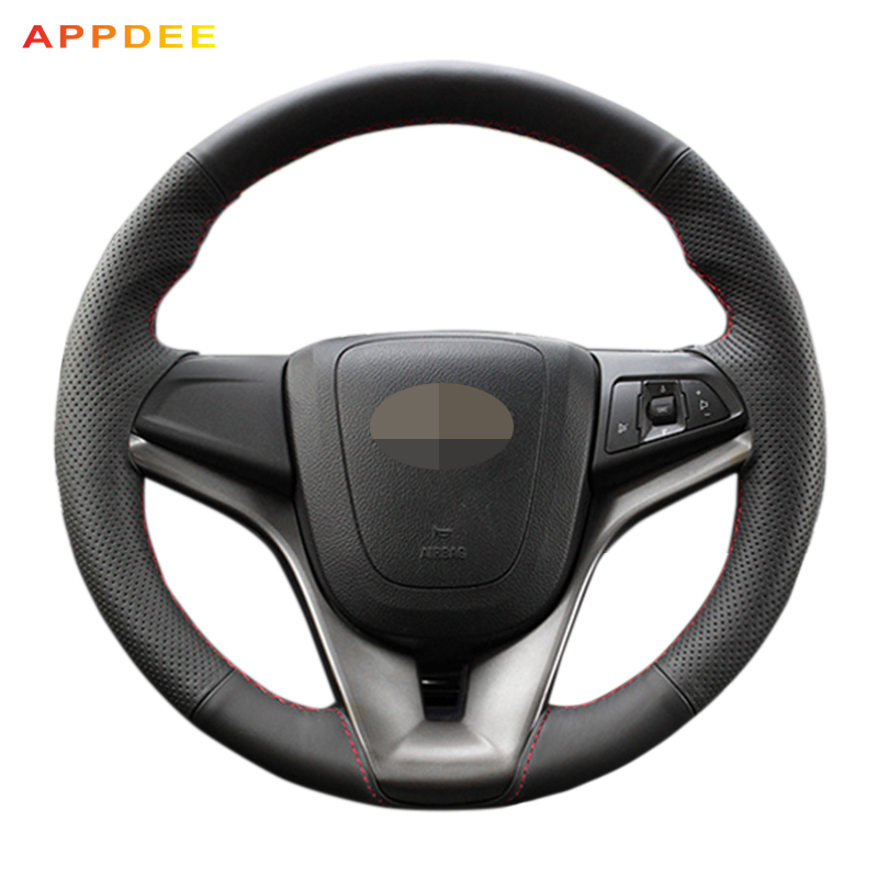 APPDEE Hand-Stitched Black Leather Steering Wheel Cover for Chevrolet Cruze 2009-2014 Chevrolet Aveo 2011-2014 Holden Cruze2010 hand stitched black leather steering wheel cover for kia sorento 2009 2014