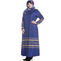 Fashion Plus Size Muslim Dress Dubai Woman Full Sleeve Floral Print Oversized Long Dress With Pockets Robe Hiver Tunic Vestidos