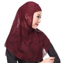 Arab Scarfs Full Cover Muslim Hat Hijab Two Piece Set Lace Hoofddoek Moslima Solid Islamic Head Turbans For Women Cap Beanies