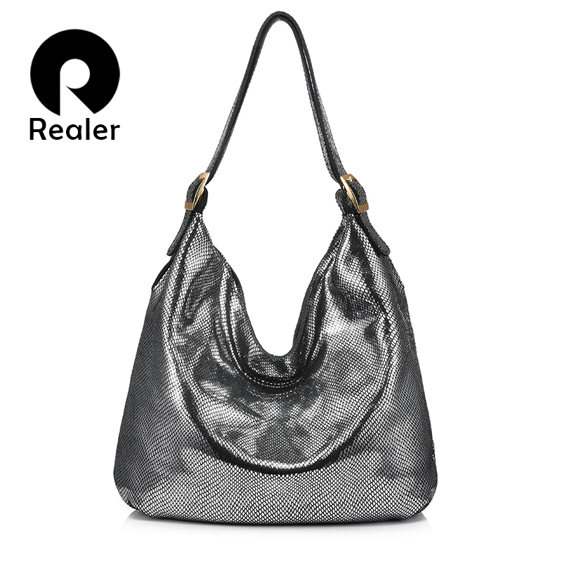 women fashion handbag women genuine leather shoulder bag hobos large capacity with serpentine prints