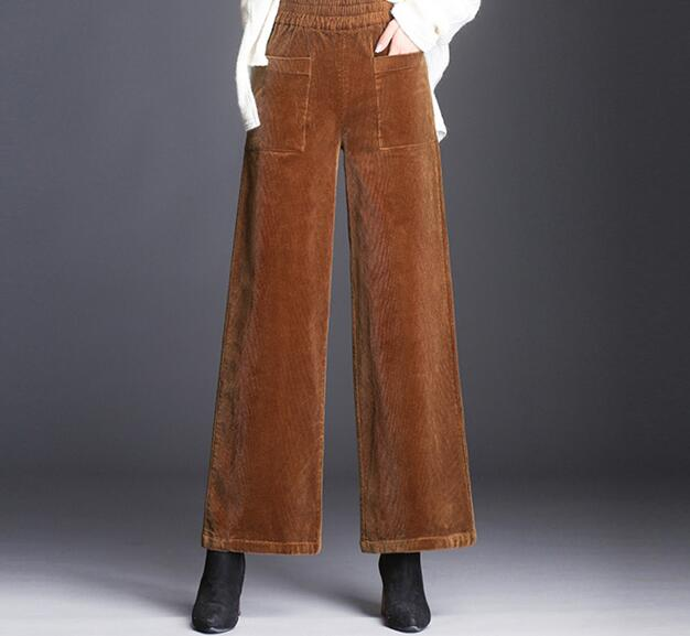 Corduroy   pants   women wide leg   capris   casual new fashion autumn spring elastic waist plus size black green gray jdk0804