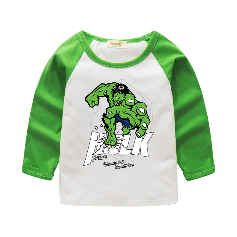 2018 Boy Girls Cartoon Hero Design T-shirt For Kids Hulk Long Sleeve Tee Tops Clothes Children Spring 100%Cotton T Shirt CTX003 stand collar color block and stripe splicing design long sleeve t shirt for men