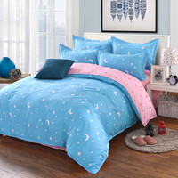 Four Piece 1pc Quilt Cover 1pc Bed Sheet + 2pc Pillowcase Bedding Star Moon Print Pattern Comfortable Soft Polyester Fabric
