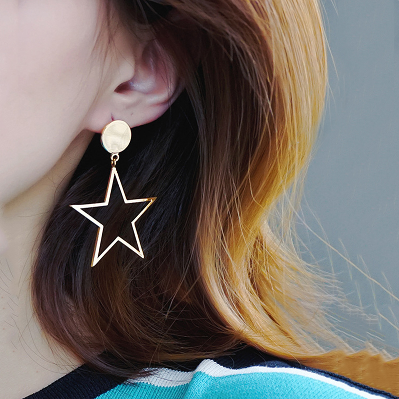 Big Star Earrings For Women Vintage Statement Punk Style Gold Silver Color Long Stud Earrings Girls Κορέας Κοσμήματα Κοσμήματα