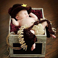 Handmade Winter Newborn Baby Photo Props Set Infant Crochet Knitted Cowboy Costume Photography Props 3pcs/Set 2 Sizes