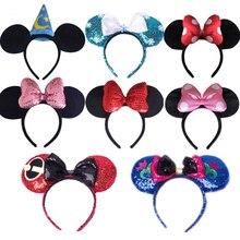 Diadema de Mickey Mouse Minnie Mickey de edición de Disney disland bandas de pelo princesa cabeza aro juguetes para regalo de niños