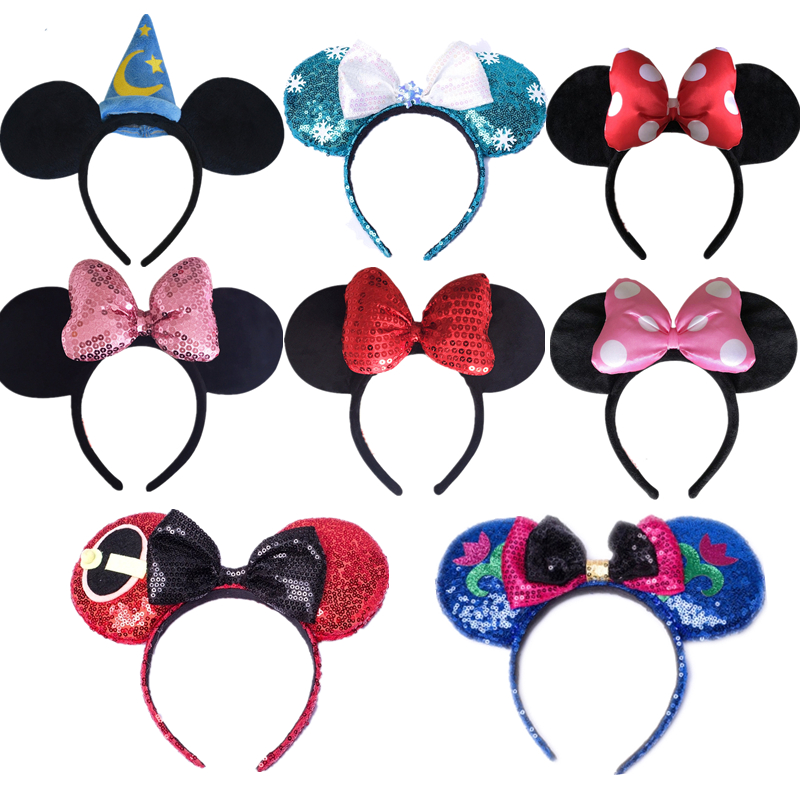 Disney Disneyland Edition Headdress Mickey Mouse Minnie Mickey Headband Hair Bands Princess Head Hoop Toys For Children Gift
