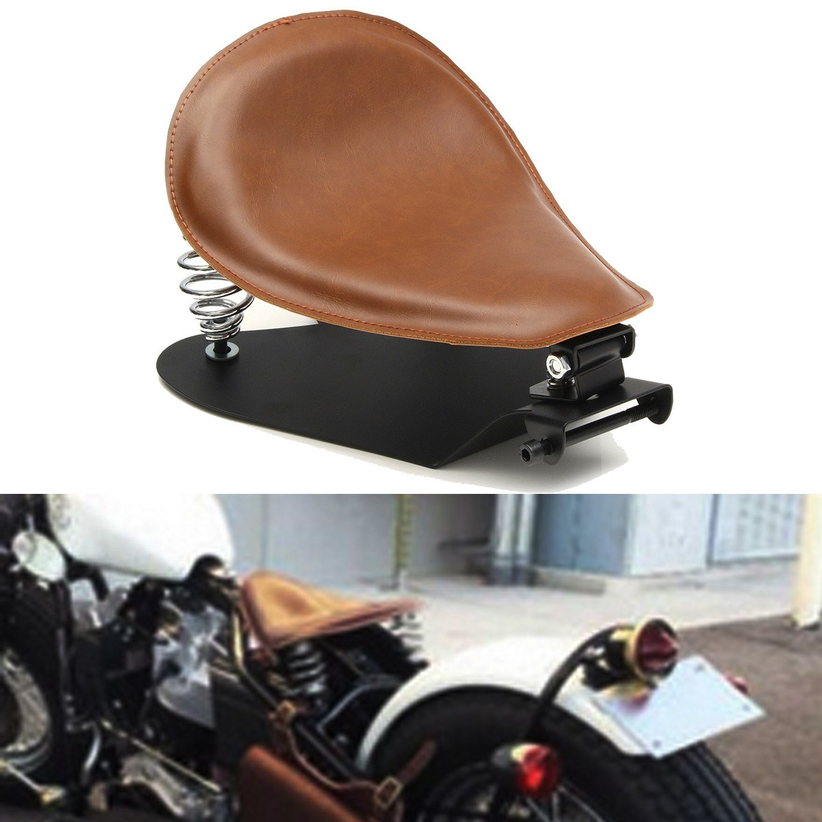 Brown Leather Motorcycle Seat Pan Frame Cover for Harly Sportster Iron XL883 XL1200 X48 72