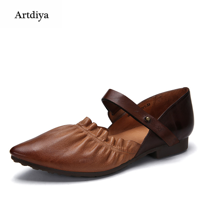 Artdiya Spring and Summer New Fashion Pointed Toe Soles Low Heel Women Shoes Genuine Leather Soft Handmade Shoes G93-92 2017 spring and summer new leather men leisure low to help peas shoes soft and comfortable sets of feet driving shoes