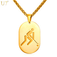 U7 New Dog Tag Necklace For Men Sporty Jewelry Stainless Steel Charm 18K Gold Plated 2016
