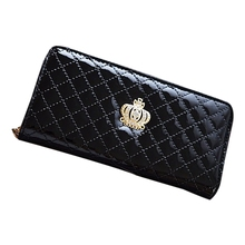 women quilted long wallet purse women Wallets With Coin Bag Plum flower clutch bag (Black Plum)