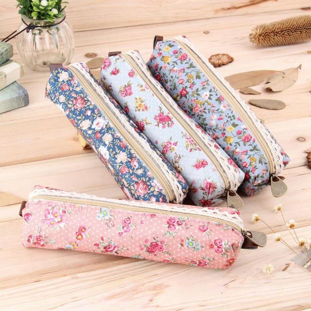 2016 Mini Flor Retro Floral Lace Caso, material escolar saco de armazenamento Cosméticos Bolsa de Maquiagem Bolsa Com Zíper Bolsa, estojo escolar