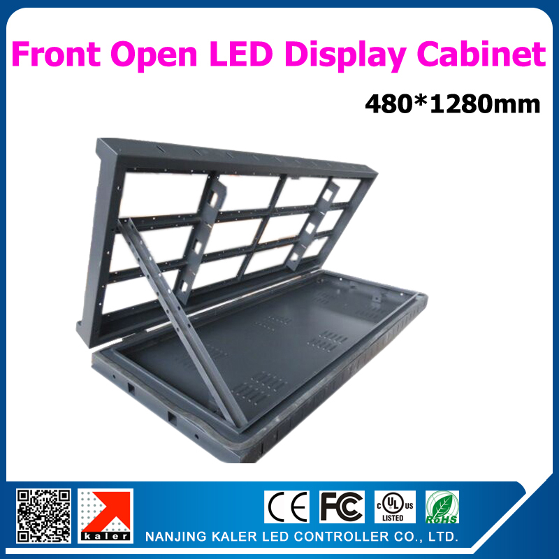 Waterproof Front Open Led Display Cabinet Easy Repairing Led Display Cabinet Installation On Wall 480*1280mm