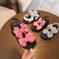 2019 Summer Baby Girl Sandals Genuine Leather Non slip Flat Heel Toddler Sandals Shoes Lovely Black White Stripes Bow tie C03261