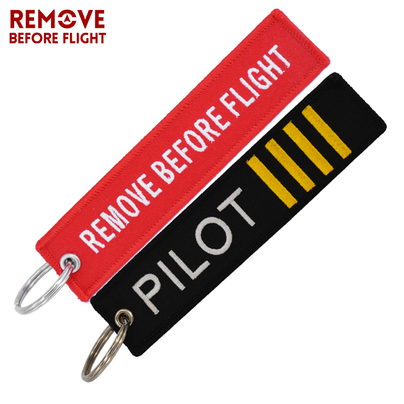 Remove Before Flight Keychain Chaveiro Embroidery Key Chain Luggage Tag Key Rings Fob for Car Launch