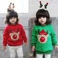 Varejo 2017 estilo do Inverno roupas Infantis Engrossar Camisola Do Natal dos cervos Do Bebê meninas roupas Transporte Livre
