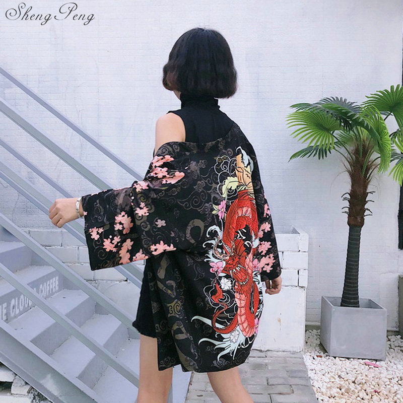 Japanese kimono shirt beach cardigan women summer traditional japanese yukata kimonos V1285